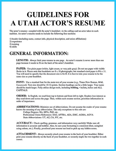 how to write a resume for acting auditions learning to write an resume