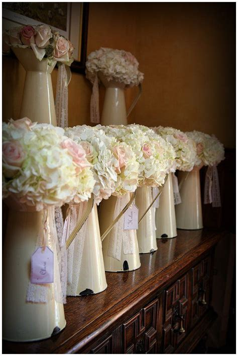 Vases For Bridesmaid Bouquets by Country Garden Marquee Wedding Blush Pink Roses Swings