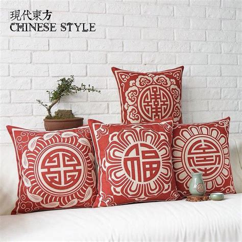 chinoiserie flower decorative pillows best bed rest decorative cushion cover pillow case chinese style red
