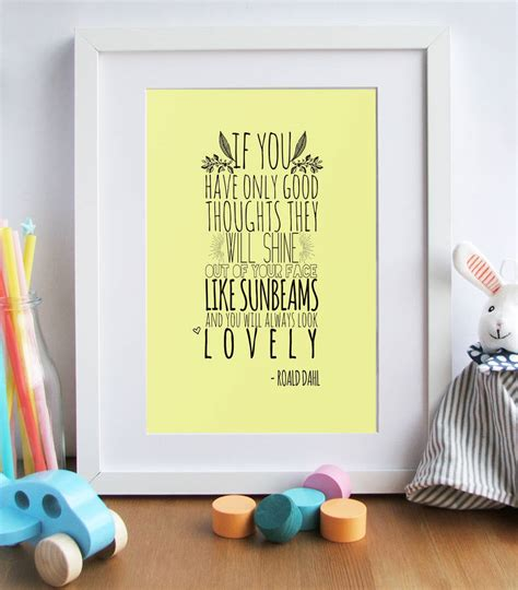 roald dahl quote printable nursery art print baby girl roald dahl s good thoughts quote nursery art print by rory
