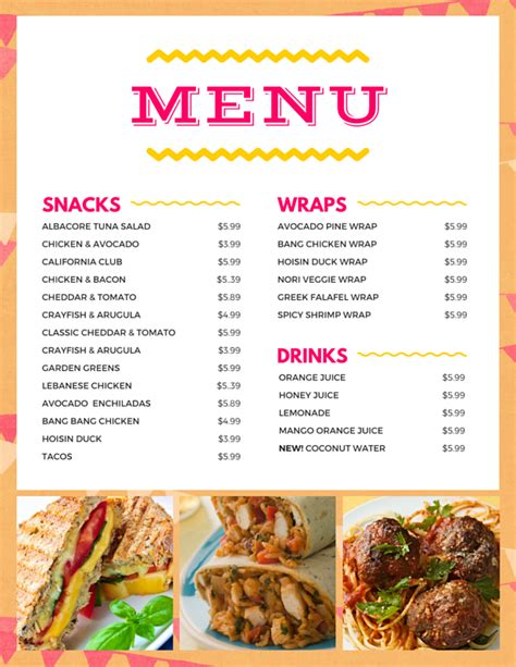 menu design exles restaurants fast food restaurant menu canva