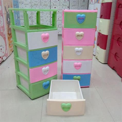 mini storage 3 tier plastic drawer with lock for clothes