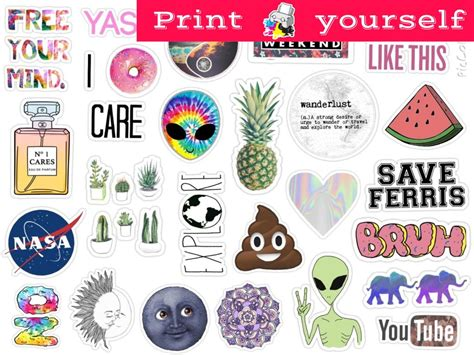 printable stickers pdf set 125 mockup printable tumblr stickers stickers set of