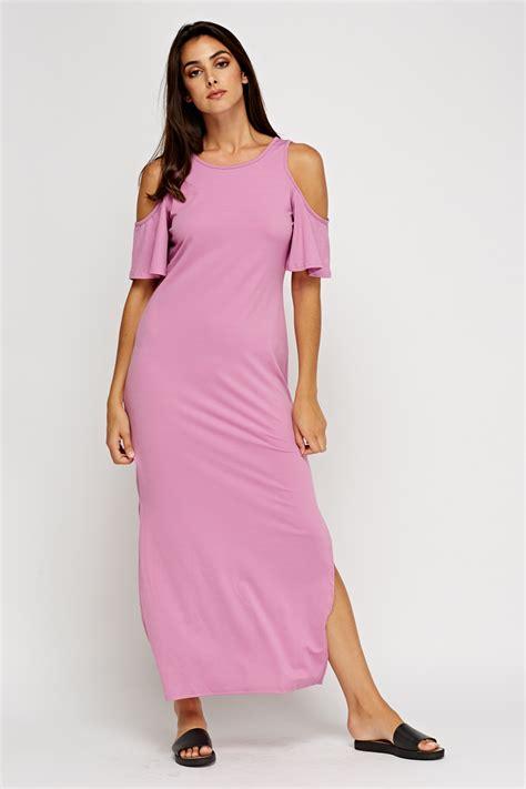 Lan Basic Maxi Dress basic cold shoulder maxi dress senaam