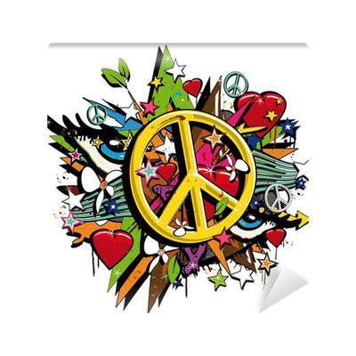 graffiti peace  love symbol pop art illustration wall