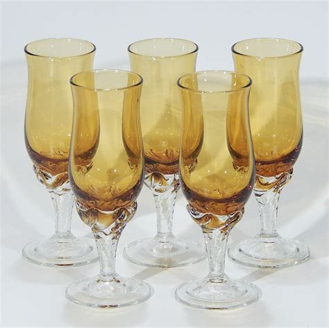 antique vintage art glass crystal glasses stemware vintage art glass crystal amber smokey topaz cordial
