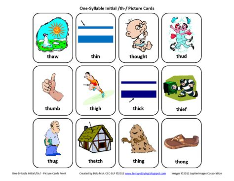 printable articulation cards initial th voiceless free speech therapy articulation