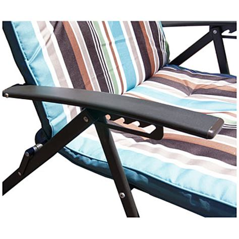 Folding Outdoor Lounge Chair by Wilson Fisher 174 Stripe Padded Folding Outdoor Lounge