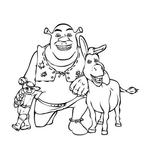 shrek donkey coloring page puss in boots take picture with shrek and donkey coloring