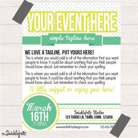 easy templates for flyers simple lime green event flyer personalized printable file