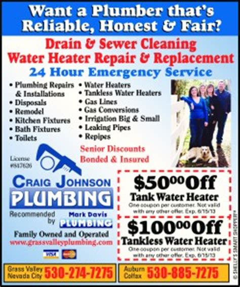 Johnson County Plumbing by Water Heater Special Offer For Grass Valley Ca And Nevada