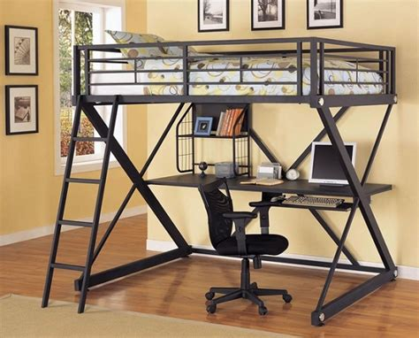 metal loft bed with desk underneath metal bunk bed with desk underneath in black finish home
