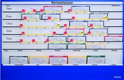 werkstatt plantafel planungstafel magnettafel als organisationsmittel himac