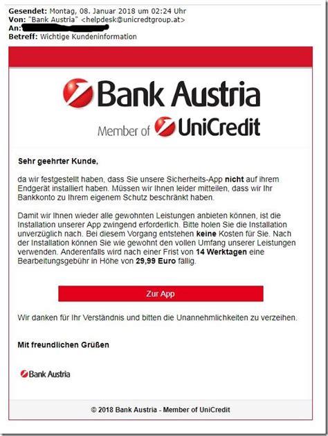 bank austria login probleme bank austria warnung phishing mails und gef 228 lschte