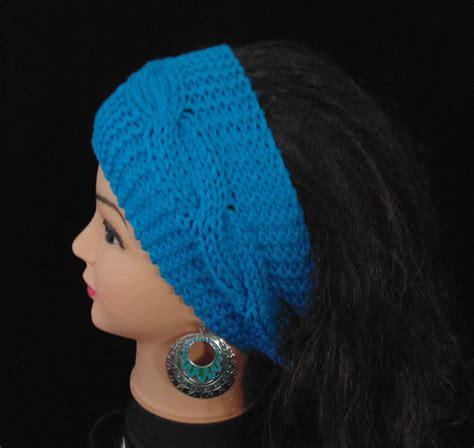 knit ear band teal blue ear warmer knit headband cables knit earwarmer