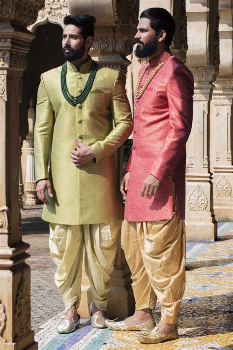 samyakk pink soli silk indo western sherwani mens indo