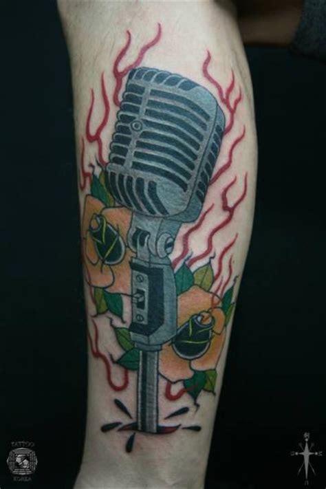 tribal microphone tattoo arm new school microphone by korea