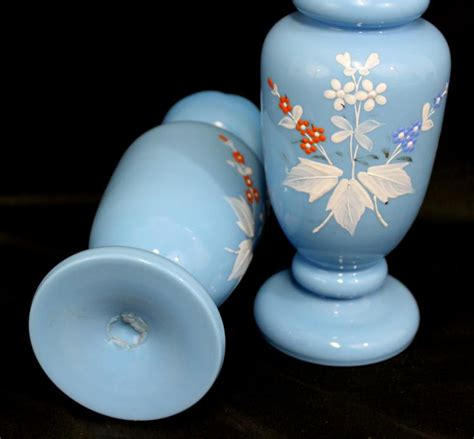 Glass Vase Decoration by Pair Opalien Opaque Blue Glass Vase With Decoration