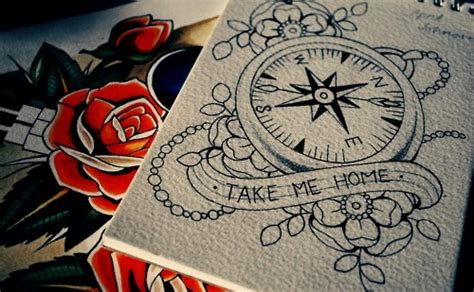 compass tattoo take me home tattoo paper paint brujula skullncolors