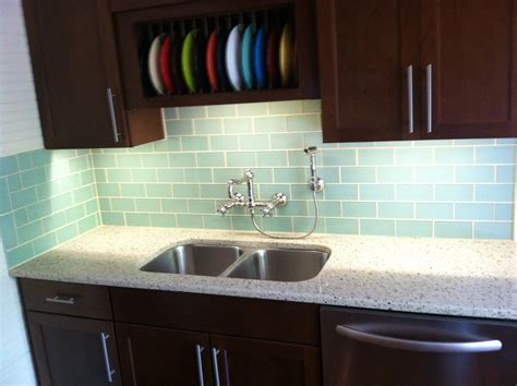 How To Do A Tile Backsplash In Kitchen Surf Glass Subway Tile Kitchen Backsplash Decobizz