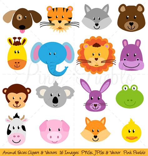 animal clipart animal faces clipart clip zoo jungle farm barnyard forest