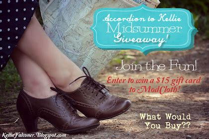 Modcloth Giveaway - accordion to kellie this august sepember sponsor call