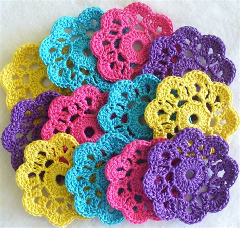 Handmade Crochet Flowers - handmade flower mini doilies appliques embellishments