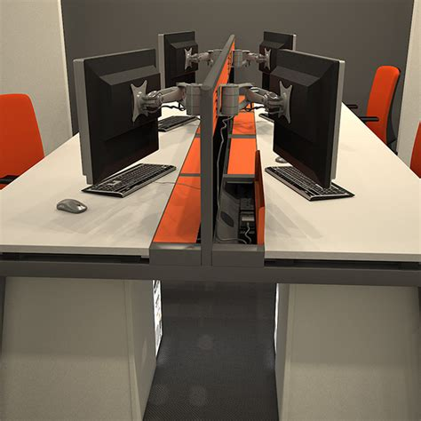 contemporary bench desk  tool screen  cable tray desks  multiple users joining