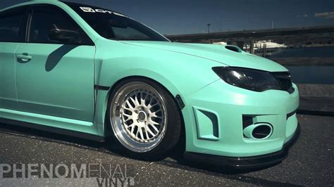 matte teal car modified car phenomenal vinyl matte mint green sti
