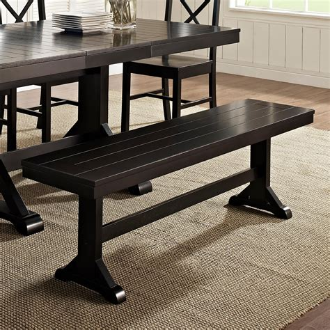 wood dining room table with bench amazon com we furniture solid wood dark oak dining bench
