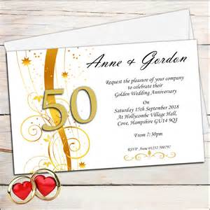 10 personalised golden wedding anniversary invitations n2