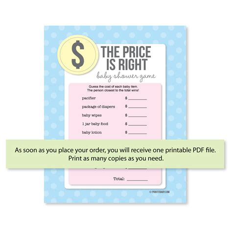 The Price Is Right Baby Shower by Printable The Price Is Right Baby Shower