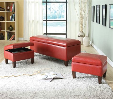 storage bench red ibrahim red pu 3pcs storage bench and ottomans