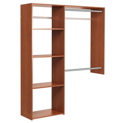 Cherry Wood Closet Organizer by Shop Easy Track 5 Ft X 7 Ft Cherry Wood Closet Kit At Lowes