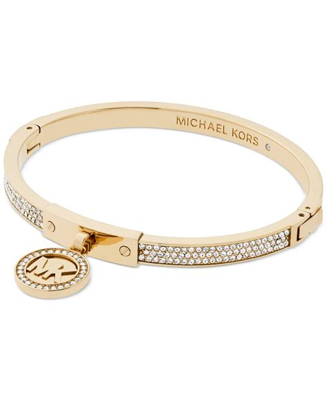 michael kors logo pav 233 hinged bangle bracelet in metallic