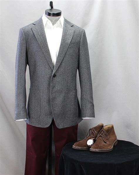 Jas Blazer Exo Grey how to wear it burgundy chinos