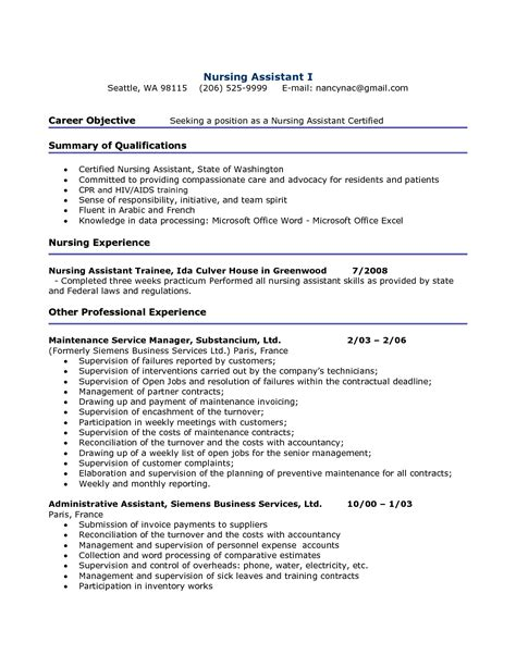 Nursing Sle Resume nursing assistant resume sle 52 images assistant in
