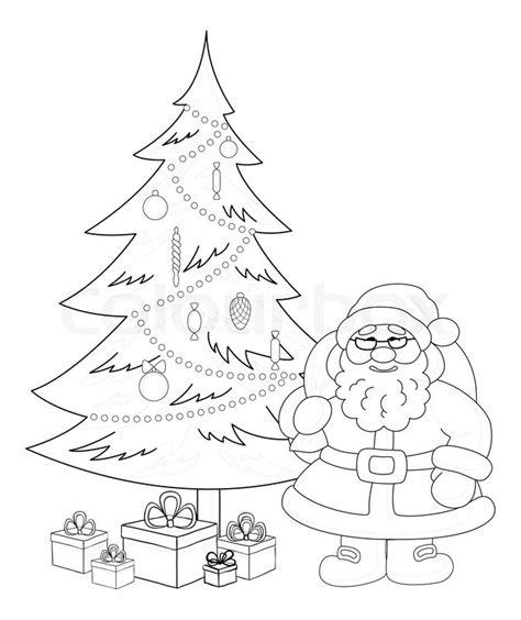 Fensterdeko Weihnachten Stock by Santa Claus And Tree Contours Stock Photo