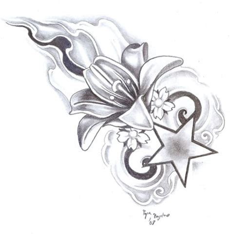 rose and star tattoo designs flower 3 by bogdanpo on deviantart