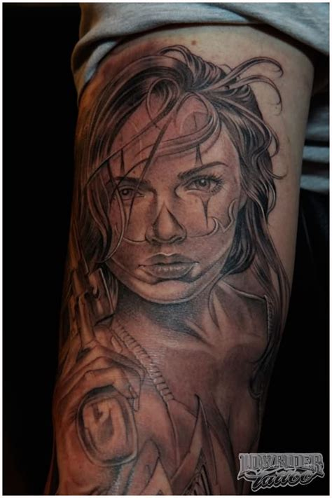 gangster girl tattoo designs grey ink gangster on sleeve