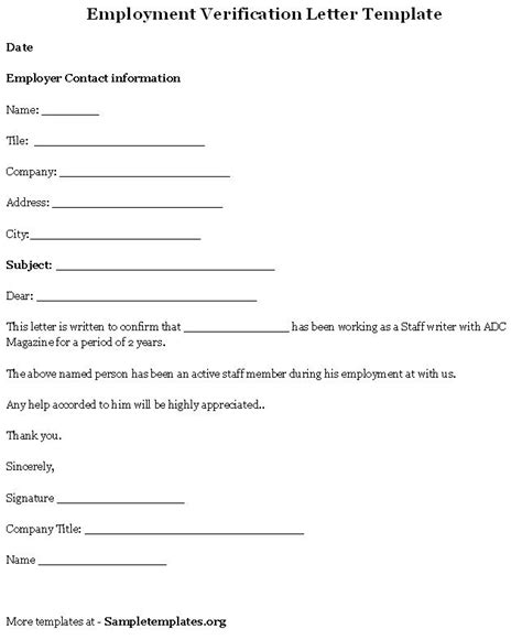 Employment Verification Template by Employment Template For Verification Letter Format Of