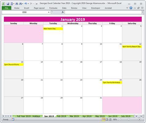 2019 Calendar Year In Excel Spreadsheet Printable Digital Download Buyexceltemplates Com 2019 Calendar Template Excel