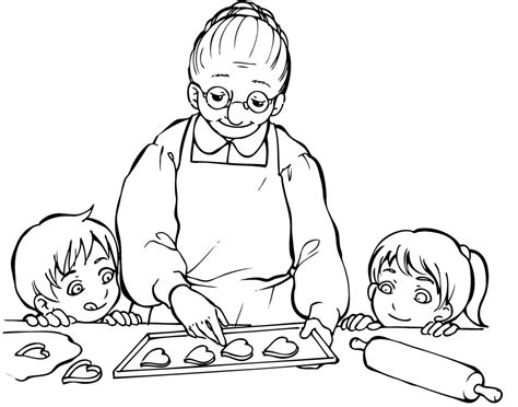 bambine che cucinano sta disegno di la nonna con i nipotini da colorare