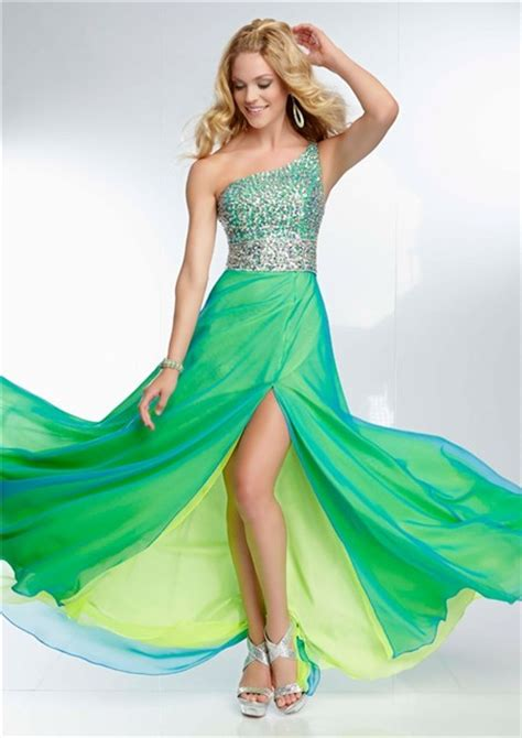 elegant hairstyles for one strap dresses elegant one shoulder long yellow green chiffon layered