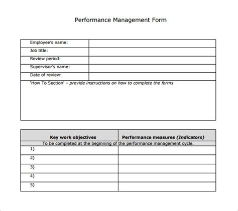 sample performance review template  documents   word