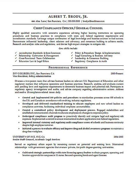 Compliance Associate Sle Resume by Resume Compliance Officer Resume Ideas