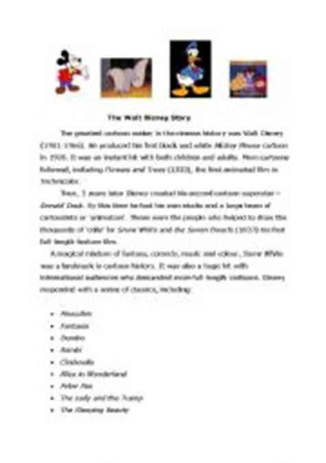 walt disney biography lesson plan english worksheets the walt disney story