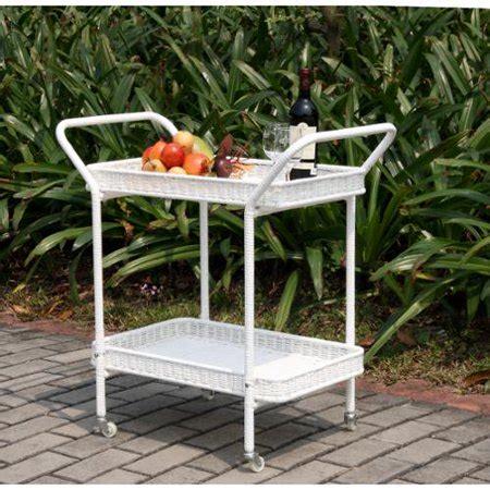 patio serving carts on wheels 32 quot white resin wicker outdoor patio garden serving cart