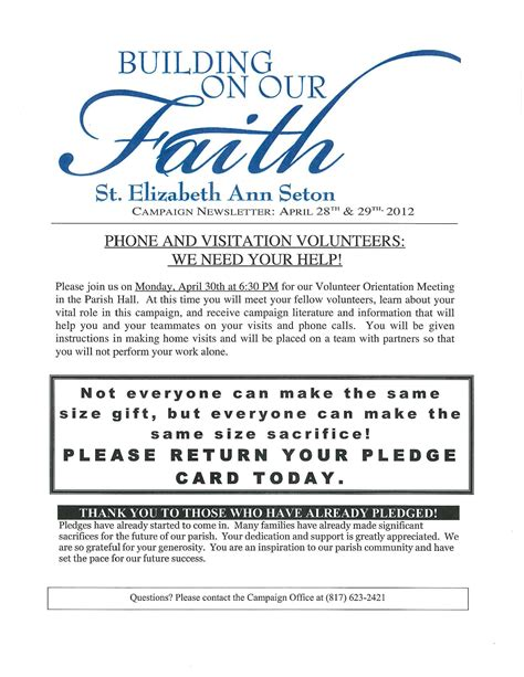 Donation Letter For Building Fund Church Pledge Cards