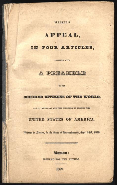 appeal to the colored citizens of the world david walker s appeal anti slavery literature in the